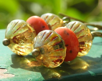 Earrings, glass and brass earrings, handmade beaded earrings, rootbeer ginger pumpkin, fall earrings autumn jewelry antiqued brass, earrings
