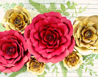 Giant Paper Flower Backdrop, Paper Roses, Paper Flower Templates, Paper Flower Wall, Large Paper Flowers, Beauty & the Beast Decor