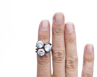 Cubic zirconia ring   Cubic zirconia crystal ring   Cubic zirconia birthstone jewelry   April Birthstone Ring   April Birthstone jewelry