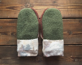 Felted Wool Mittens, Recycled from Sweaters, size Small
