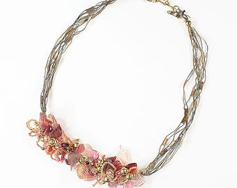 20 inch 3D pink necklace, trellis ribbon, acrylic leaves and hearts, crystal and tila beads