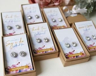 Thank you Bridesmaid, bridesmaid earrings, Rhinestone earrings,  wedding earrings, White Gold jewellery, bridal party gift, thank you gift