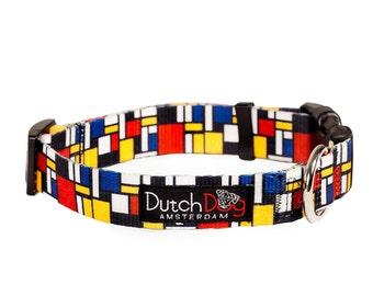 "Dog collar from recycled webbing - Mondrian inspiration - Size S (10-15""), 5/8"" wide"