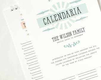 Perpetual Calendar, Birthday Calendar, Personalized Gift Under 50 // CALENDARIA