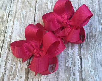 "Fuchsia Pigtail Bows Shocking Pink Pigtail Bows Bright Pink Pigtail Bows Girls Hair Bows 3"" Double Layer Hairbows Set of 2 Pigtail Bows"