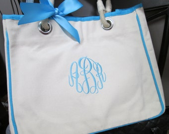 Monogrammed Bridesmaid Gift Wedding Totes for Wedding Bridal Party, Personalized Canvas Bags, Set of 7