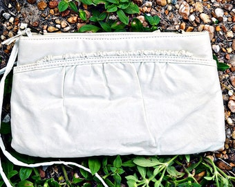 VTG- Vintage 1980s, Sand toned, Vegan Leather, Minilmalist, Shoulder Bag Clutch by Hato Hasi, Off white with adorable Ruffle detail