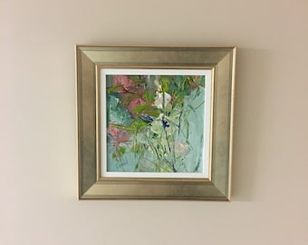 Flower Painting - Wild Garden - Original Painting- 8 x 8- Framed- Champagne Frame-Canvas Panel- Fine Art
