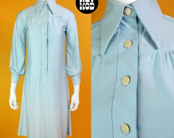Iconic Pointed Collar Vintage 70s Light Dusty Blue Hippie Shift Dress