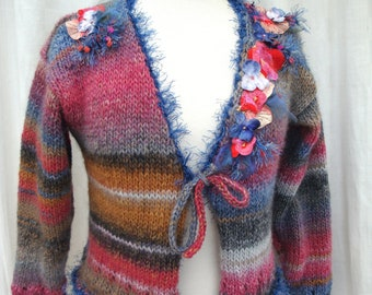 Cardigan or vest floral application embroidery sewing knitting handmade