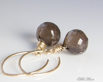 Smoky Quartz Earrings, Gold FIlled Jewelry, Golden Brown Dangle Earrings. Choice of Earwire, Smokey Quartz Earrings. Gift Under 45