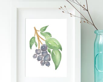 Blueberry Art, Printable Watercolor Blueberry, Kitchen Wall Art, Kitchen Decor, Blueberry Art Print, Fruit Art, Blueberry, Blueberries, Art
