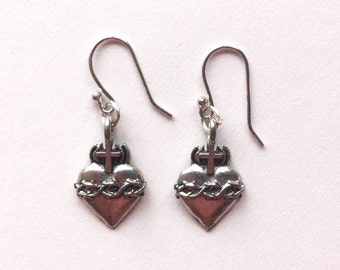 Pewter Sacred Heart Milagro Earrings with Sterling Silver Hooks