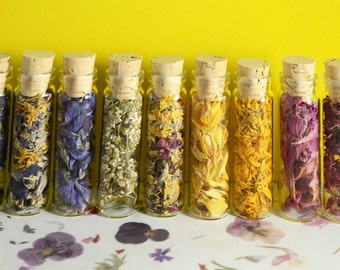 DRIED FLOWER PETALS| Fairy Garden | Organically Grown Flower Petals in 10 Varieties| 4 Dram Clear Glass Vials w/ cork stoppers| Blessed Be!