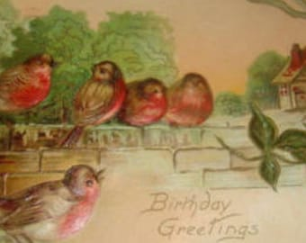 Lovely Highly Embossed Vintage Postcards (Birds) #3