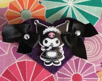 Kawaii Lolita Gothic Ouji Kuromi Heart Hair Clip