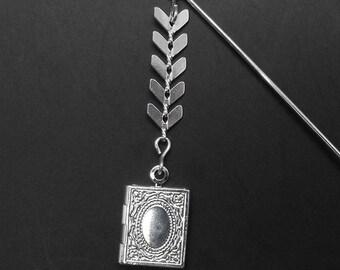 Book Locket Stick Pin Brooch Chevron Chain Book Lover Gift