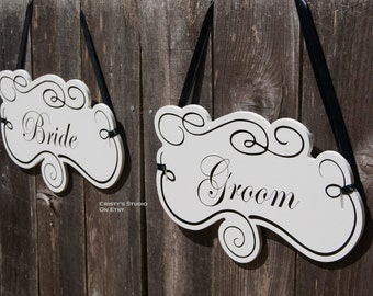 Two (2) Groom and Bride Wedding Chair Signs