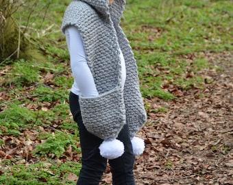 CROCHET PATTERN- The Snowdrift Hooded Scarf (Toddler, Child, Teen, Adult sizes) -crochet hood pattern crochet scarf -Instant PDF Download