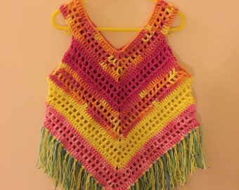 Little girl summer top, 2-3 years, crochet top, ready to ship!