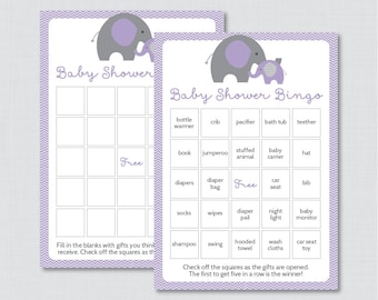 Elephant Baby Shower Bingo Cards - Prefilled Bingo Cards AND Blank Cards - Digital Instant Download - Purple Elephant Baby Shower - 0024-R