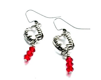 Vampire Fang Earrings with dripping blood crystals Psychobilly Handmade Gift