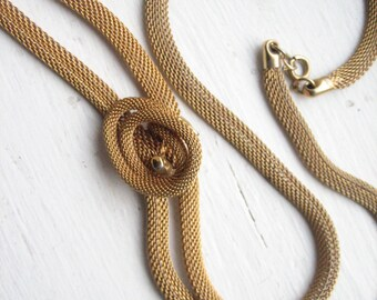"""Vintage gold mesh necklace, """"knotted"""" gold mesh, flat mesh necklace, 32.5"""" gold mesh, gold tone mesh, 32.5"""" mesh necklace"""