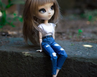Distressed Mom jeans for Pullip Obitsu 27 by Atelier Milabrocc Denim pants