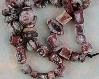 "37 Handmade art strand stoneware artisan glazed art beads pendant set ""Roman fusion"""