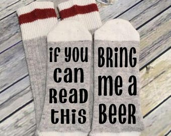 Word Socks - Novelty Comfy Cotton or Wool Men's Socks - If you can read this - Bring me a beer - Funny Socks - Socks with Sayings - Custom