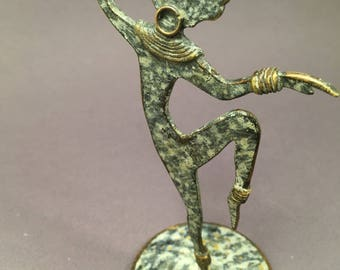 Antique french 1960 vintage jewelry hanger, African dancer sculpture, enamelled copper