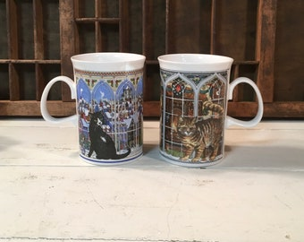 Vintage mug cup mugs cats dunoon Christmas cats fine bone china England sue scullerd decor gift