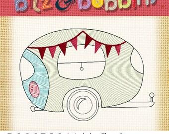 Vintage Camper Trailer - Machine Embroidery Design