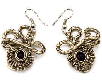 Steampunk Earrings, Purple Earrings, Amethyst Earrings, Silver Earrings,  Wire Wrap Earrings, Dangle Earrings, Gemstone Earrings