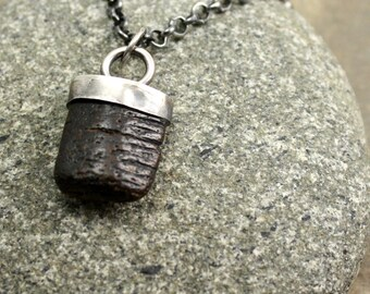 Fossilized Necklace in Sterling Silver and Manta Ray Mouth Plate