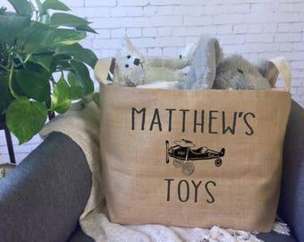 personalized kids toy storage basket/ children's toy bin/ nursery storage/ baby shower gift bag/ toy basket/ toy tote/airplane decor