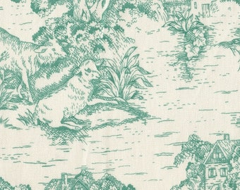 Standard Sham, Ruffled, French Country Pool Green Toile