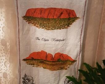 Vintage Linen Tea Towel- Central Australia