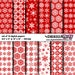 """Digital Scrapbook Paper - Christmas / Winter - Red & White Snowflake Collection (12""""x12"""") Holiday - Seasonal - Snow - Modern - Party"""