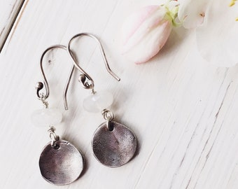 Handcrafted fine silver and moonstone earrings