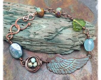 Kyanite and Chalcedony Gemstone Bird Wing & Nest Bracelet, ready to ship