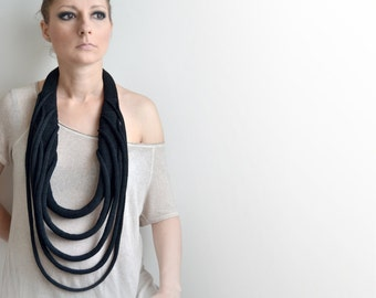 Statement Knitted necklace, black knit necklace, long necklace