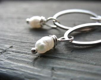 Pearl Earrings, Pearl Silver Hoop Earrings, Handmade Pearl Dangle Drop Earrings, White Pearl Earrings, Pearl Jewelry