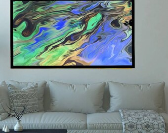 Large abstract, Fluid art, Acrylic painting, Canvas art, Giclee print, Original painting, Blue green painting, Nature abstract, Home decor,
