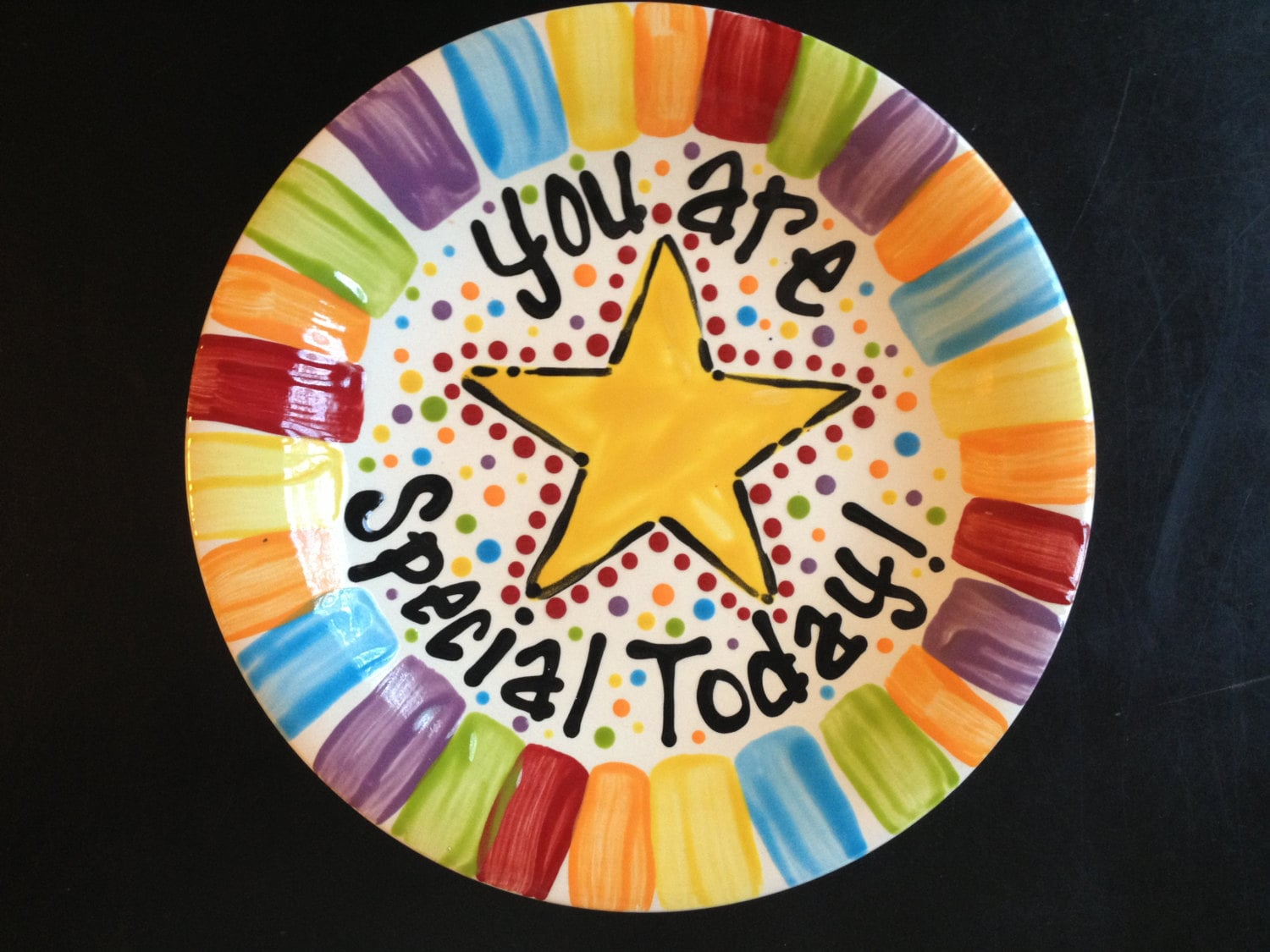 Hand Painted Special Day Family Plate
