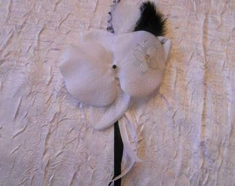 White Orchid hair clip