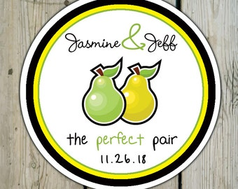 Round Custom Perfect Pair Favor Labels / Stickers - Perfect Pair Pears - Personalized Perfect Pear Wedding Favor Stickers / Shower Labels