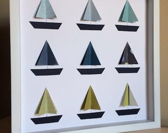 Boat, 3D Paper Art, Sail boat nursery, Nautical Nursery, Nautical theme, boat, nursery decor, by PaperLine