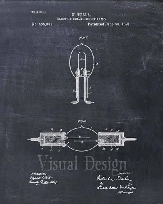 Tesla Incandescent Lamp Patent Print Tesla Light Bulb