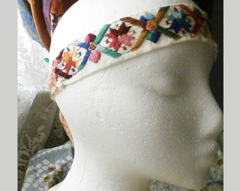 Embroidered Headband, Boho Hippie Hair Accessory with Adjustable Tie Back made from Vintage Embroidered Trim